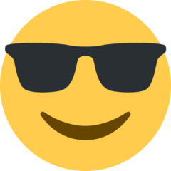 How Smiling Face with Sunglasses emoji looks on Twitter.