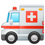 How Ambulance emoji looks on Whatsapp.