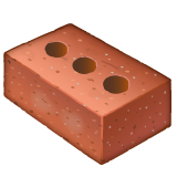 How Brick emoji looks on Whatsapp.