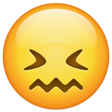 How Confounded Face emoji looks on Whatsapp.