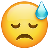 How Downcast Face with Sweat emoji looks on Whatsapp.