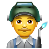 How Man Factory Worker emoji looks on Whatsapp.