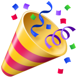 How Party Popper emoji looks on Whatsapp.