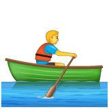 How Person Rowing Boat emoji looks on Whatsapp.