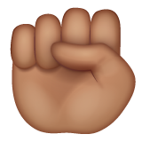 How Raised Fist: Medium Skin Tone emoji looks on Whatsapp.