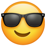 How Smiling Face with Sunglasses emoji looks on Whatsapp.