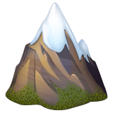 How Snow-Capped Mountain emoji looks on Whatsapp.
