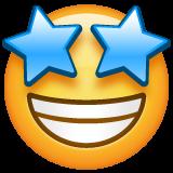 目が星の笑顔の絵文字がWhatsappでどのように見えるか。