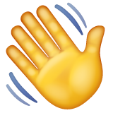 How Waving Hand emoji looks on Whatsapp.