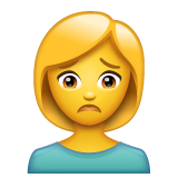 How Woman Frowning emoji looks on Whatsapp.